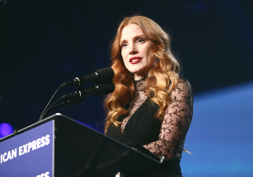 Jessica Chastain, winner of the Chairman's Award speaks onstage at the 29th Annual Palm Springs International Film Festival Awards Gala at Palm Springs Convention Center on January 2, 2018 in Palm Springs, California.