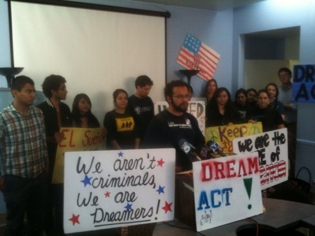 UCLA graduate student Carlos Amador addresses media at a press conference in downtown Los Angeles following the Senate's vote to table to Dream Act until next week, December 9, 2010