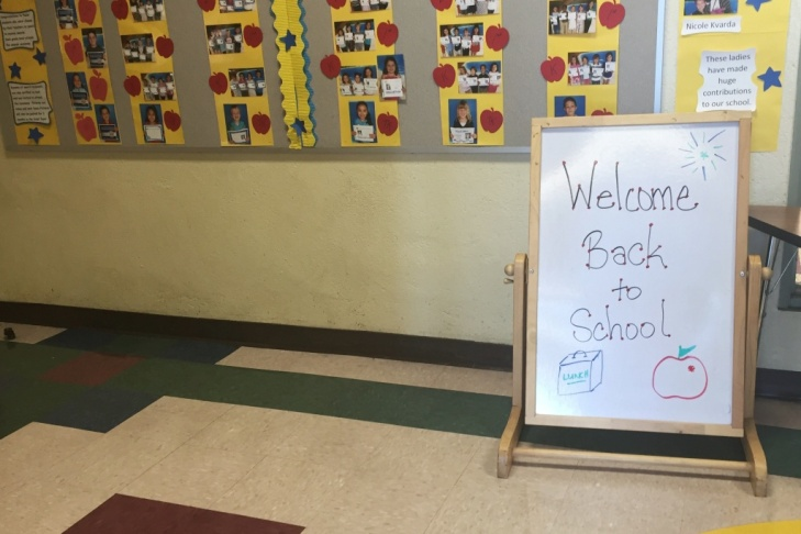This sign welcomes students at Theodore Roosevelt Elementary School as they enter.