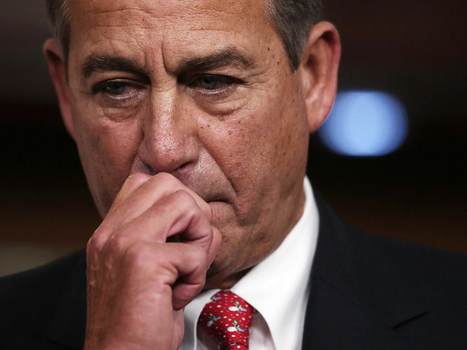 House Speaker John Boehner at a recent news conference following his failed effort at fiscal cliff legislation. U.S. consumer confidence tumbled in December, driven lower by fears of sharp tax increases and government spending cuts set to take effect next week.
