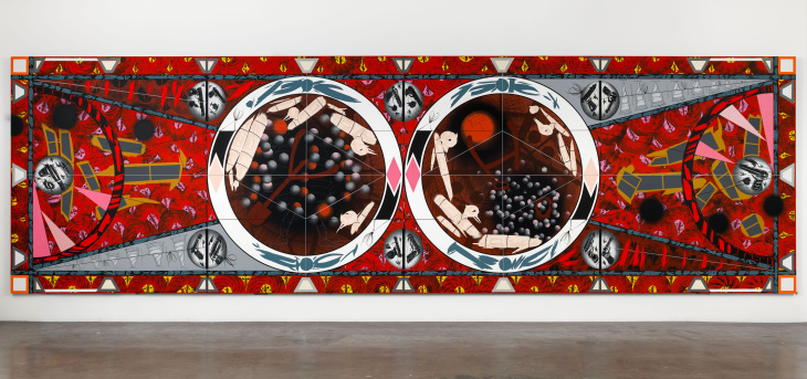 Lari Pittman; Flying Carpet with Petri Dishes for a Disturbed Nation; 2013; Cel-vinyl, spray enamel on canvas over wood panel; 108 x 360 1/4 inches; (274.3 x 915 cm)