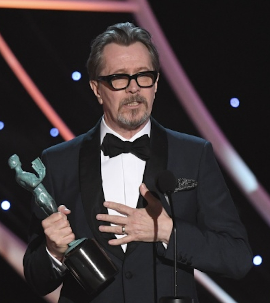 Actor Gary Oldman accepts the award for Best Actor at the 2018 Screen Actors Guild Awards.