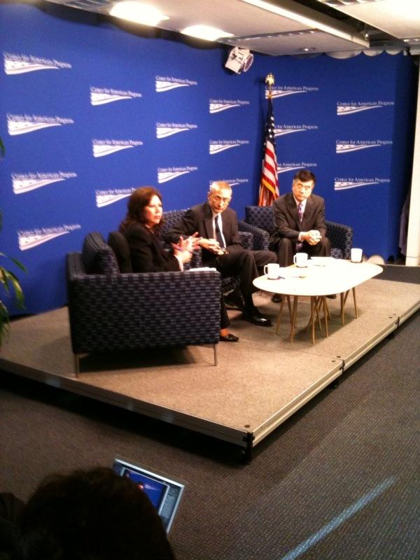 Labor Secretary Hilda Solis, John Podesta from the Center for American Progress, and Commerce Secretary Gary Locke