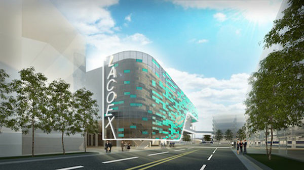 The proposed football stadium and new Pico Hall would add more exhibition space to the Los Angeles Convention Center.