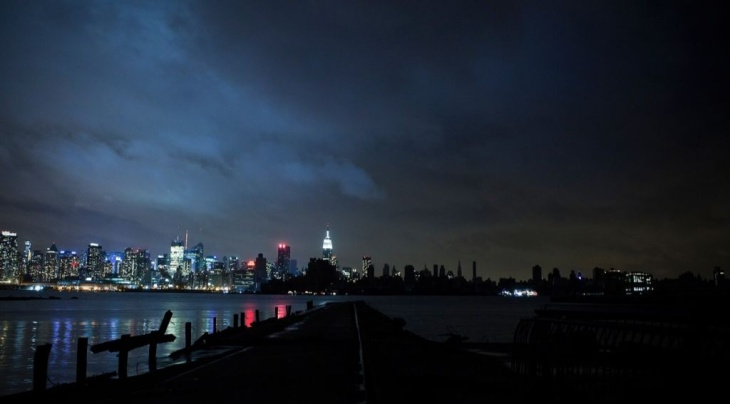 Much of the New York City skyline sits in darkness after Hurricane Sandy, on Oct. 30, 2012.
