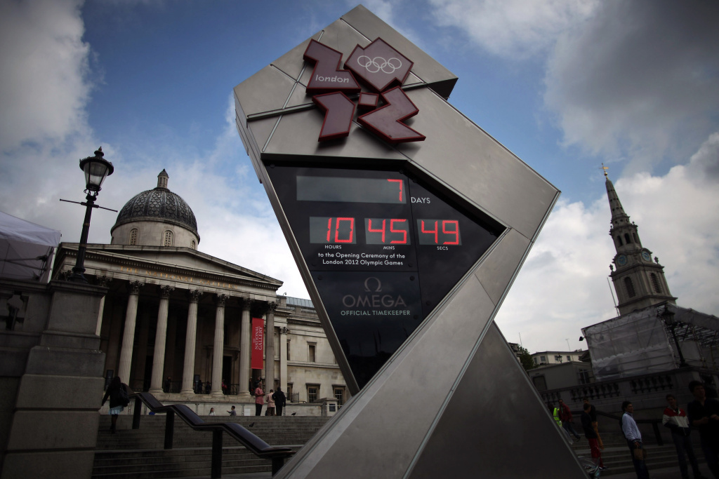 A general view of the London 2012 Olympic countdown clock as it shows 7 days to go, in Trafalgar Square on July 20, 2012 in London, England. The opening ceremony of the games will take place on July 27, 2012.