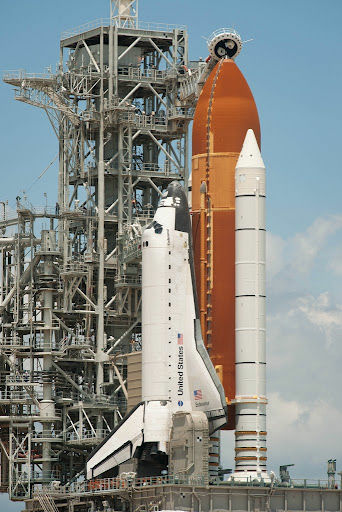 The space shuttle Endeavour is seen on launch pad 39a after the rollback of the Rotating Service Structure (RSS), Sunday, May 15, 2011, at Kennedy Space Center in Cape Canaveral, Fla.