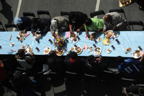 A free Easter meal for Los Angeles' homeless, taken last April.