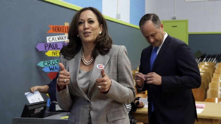 California Attorney General Kamala Harris with her husband, Douglas Emhoff vote at the Kenter Canyon Elementary School in Los Angeles, on Tuesday, June 7, 2016.