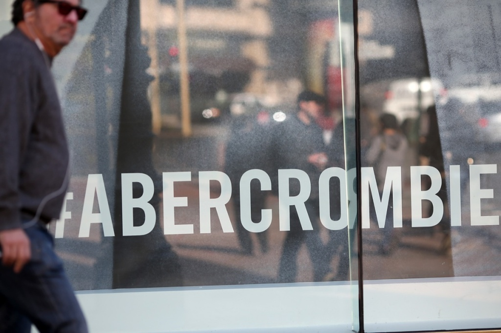 A man walks past an Abercrombie and Fitch store on February 22, 2013 in San Francisco.