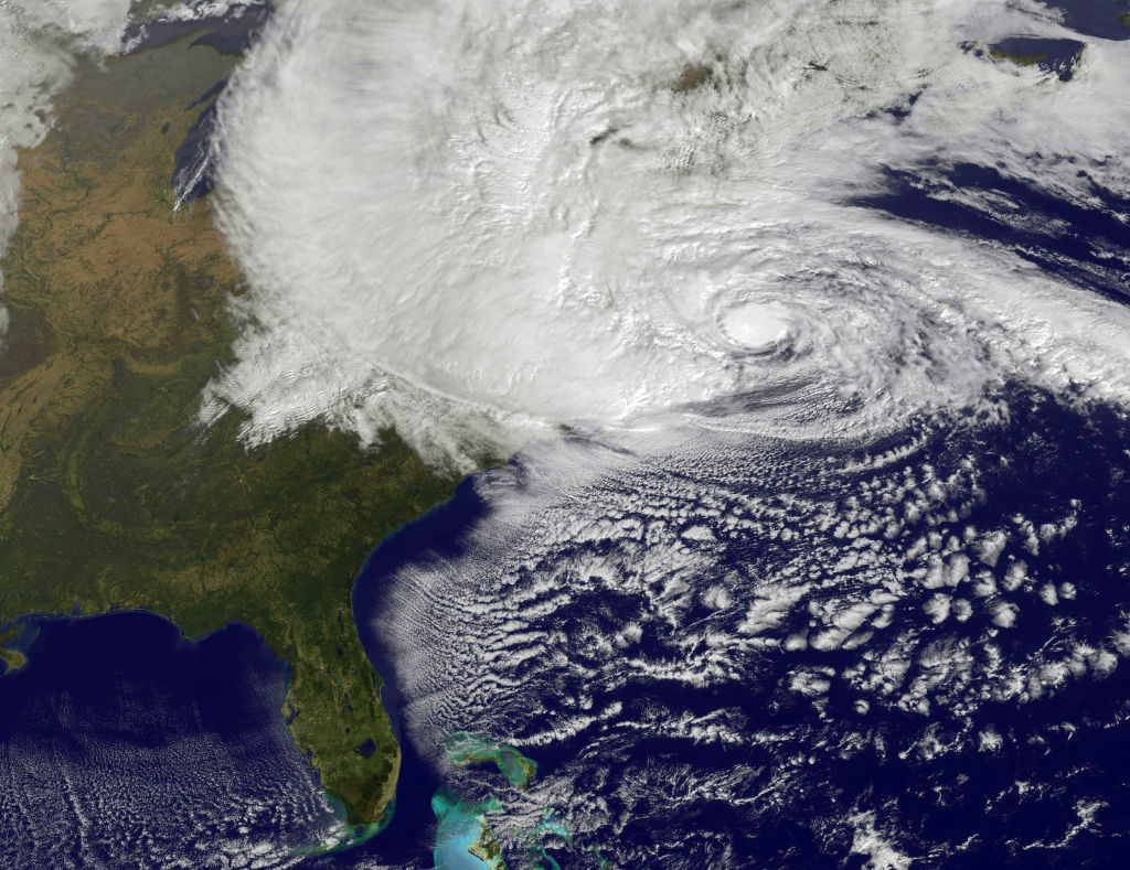In this handout GOES satellite image provided by NASA, Hurricane Sandy, pictured at 1440 UTC, churns off the east coast on October 29, 2012 in the Atlantic Ocean. Sandy, which has already claimed over 50 lives in the Caribbean is predicted to bring heavy winds and floodwaters to the mid-Atlantic region.