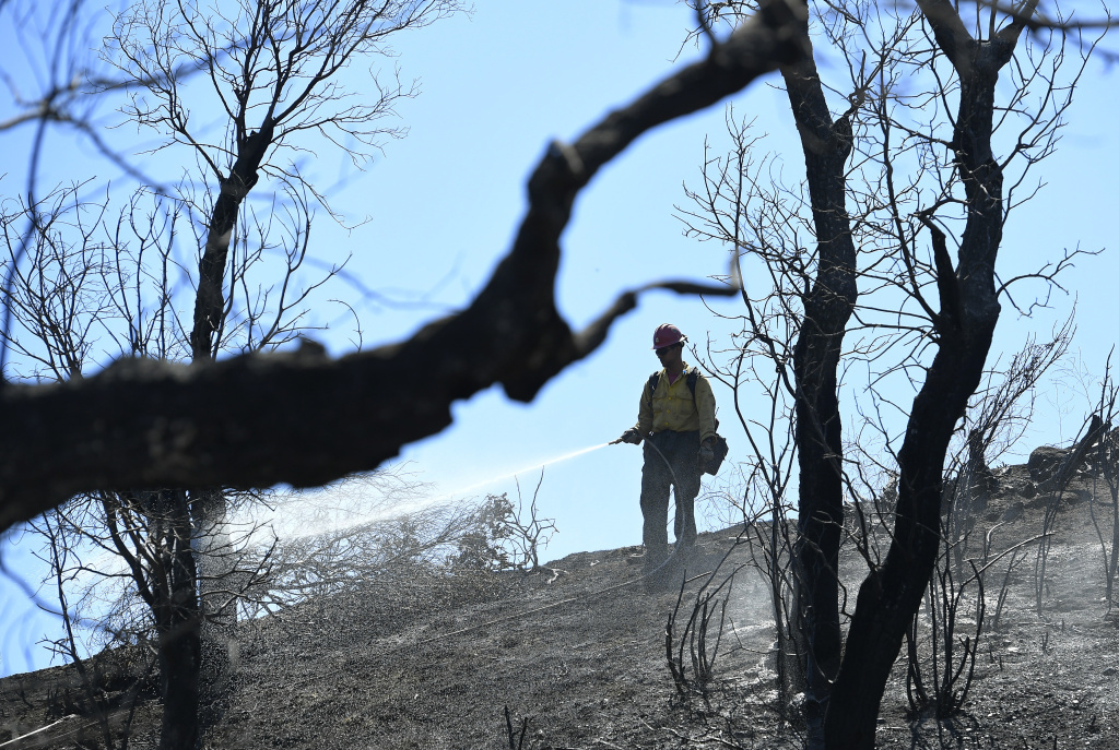 A U.S. Forest Service firefighter sprays the remains of a wildfire Monday, June 26, 2017, that broke out Sunday in Santa Clarita, Calif. Crews are cleaning up after a weekend car crash sparked the smoky fire that ripped through dry brush amid stifling heat. (AP Photo/Mark J. Terrill)