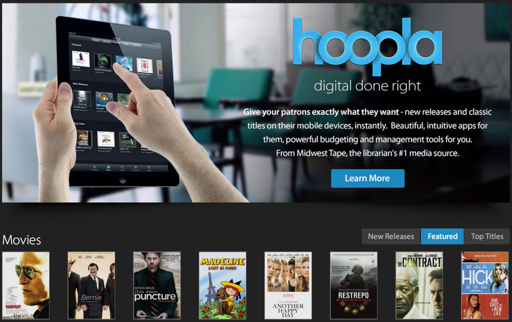 A screen shot of the hoopla website. The company plans to provide streaming audio and video to library card holders.