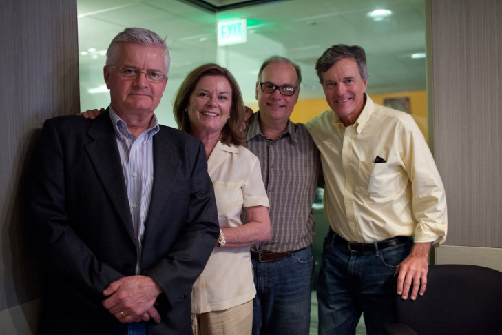 Larry Mantle in studio with Duane Chase, Heather Menzies and Nicholas Hammond who played Kurt, Louisa and Friedrich in The Sound of Music.