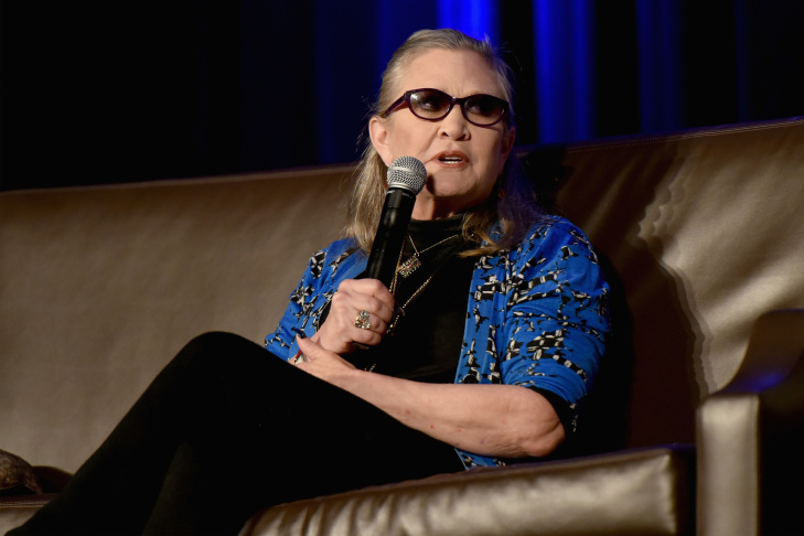In this file photo, actress Carrie Fisher speaks onstage during Wizard World Comic Con Chicago 2016 - Day 4 at Donald E. Stephens Convention Center on August 21, 2016 in Rosemont, Illinois.