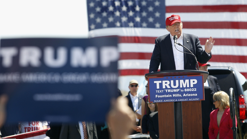 Donald Trump speaks at Fountain Park during a campaign rally on March 19, 2016 in Fountain Hills, Ariz.