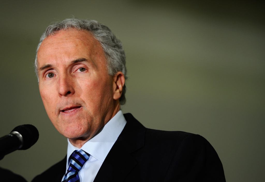 File: Then-Los Angeles Dodgers owner Frank McCourt speaks during a Dodger Stadium security news conference at Los Angeles Police Department headquarters on April 8, 2011 in Los Angeles.