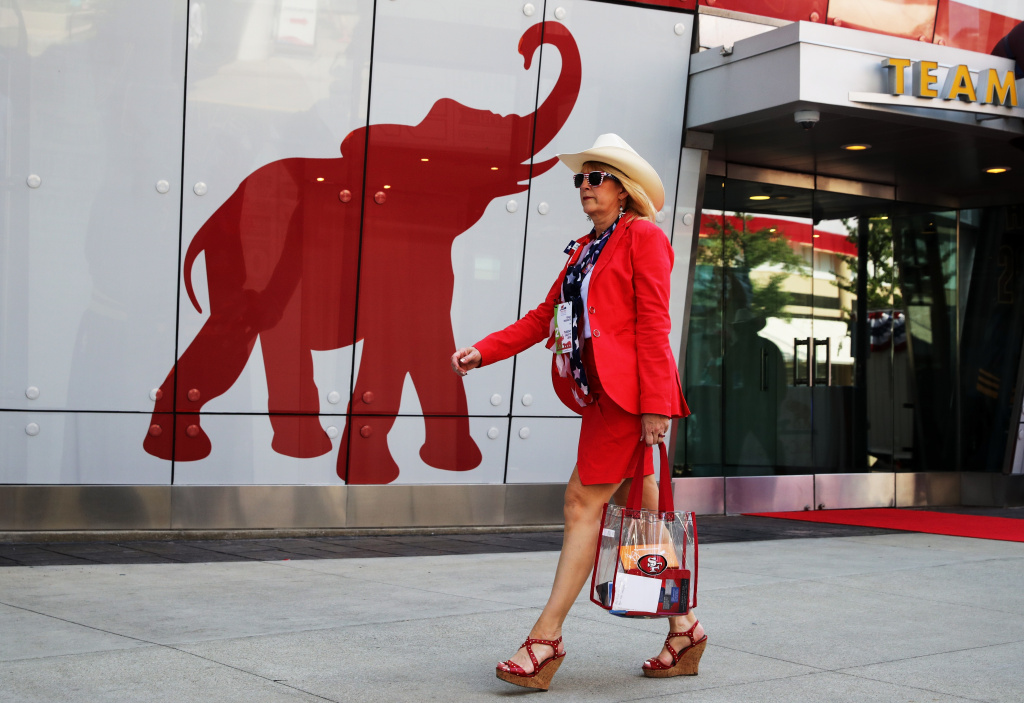A delegate from Texas arrive on the second day of the Republican National Convention on July 19, 2016 at the Quicken Loans Arena in Cleveland, Ohio.