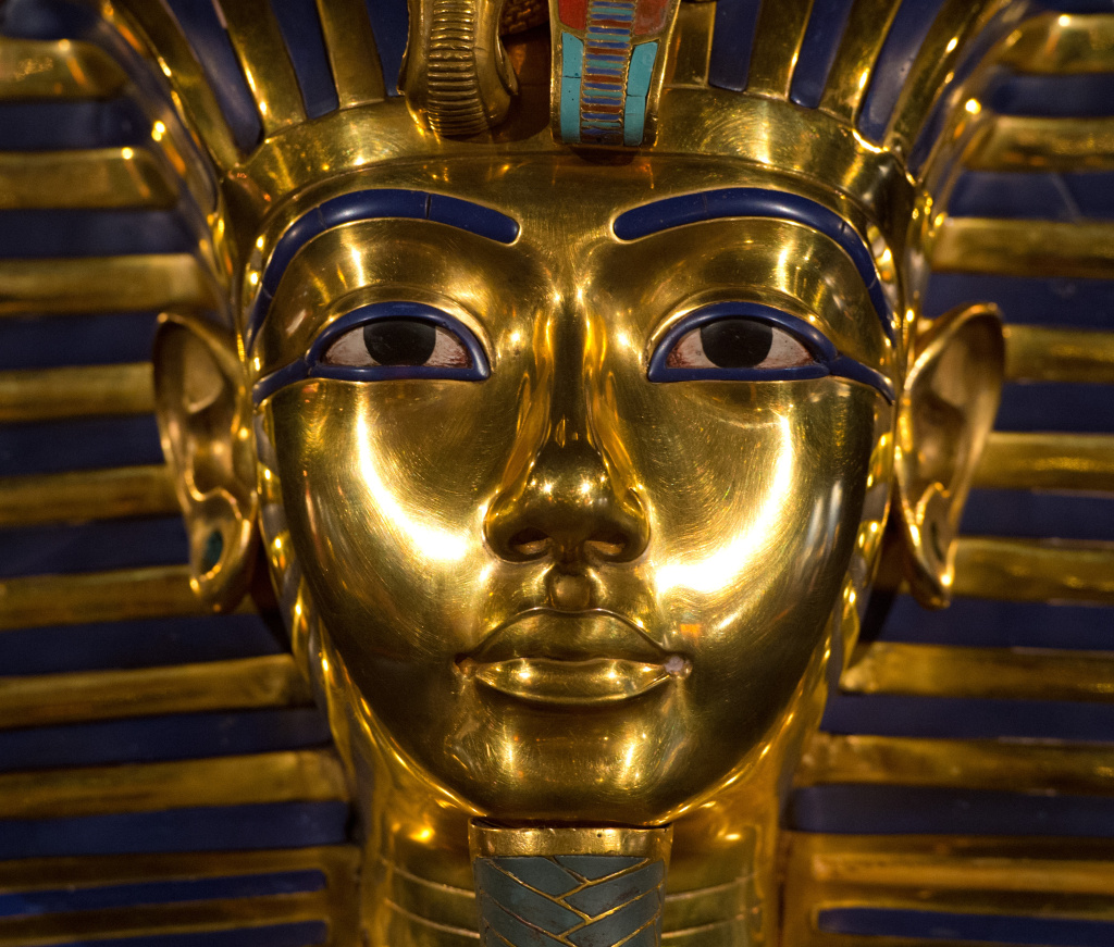 A replica of the mask of Egyptian pharaoh Tutankhamun is seen during a preview of the show 'Tutankhamun - His Tomb and His Treasures' on March 7, 2013 in Berlin.