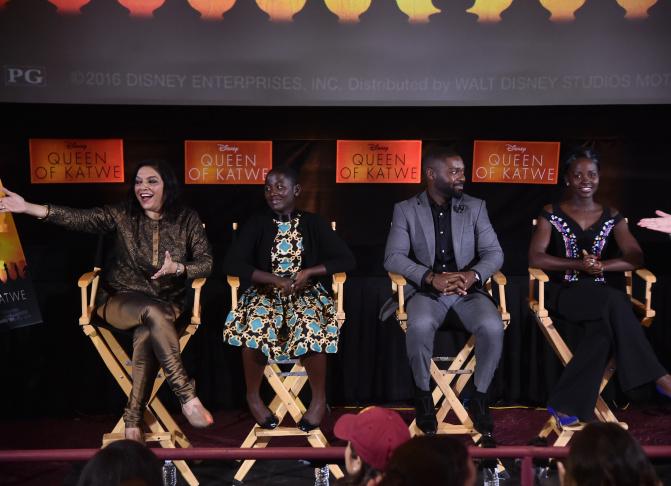 (L-R) Director Mira Nair with cast members Madina Nalwanga, David Oyelowo and Lupita Nyong'o at a Q&A for