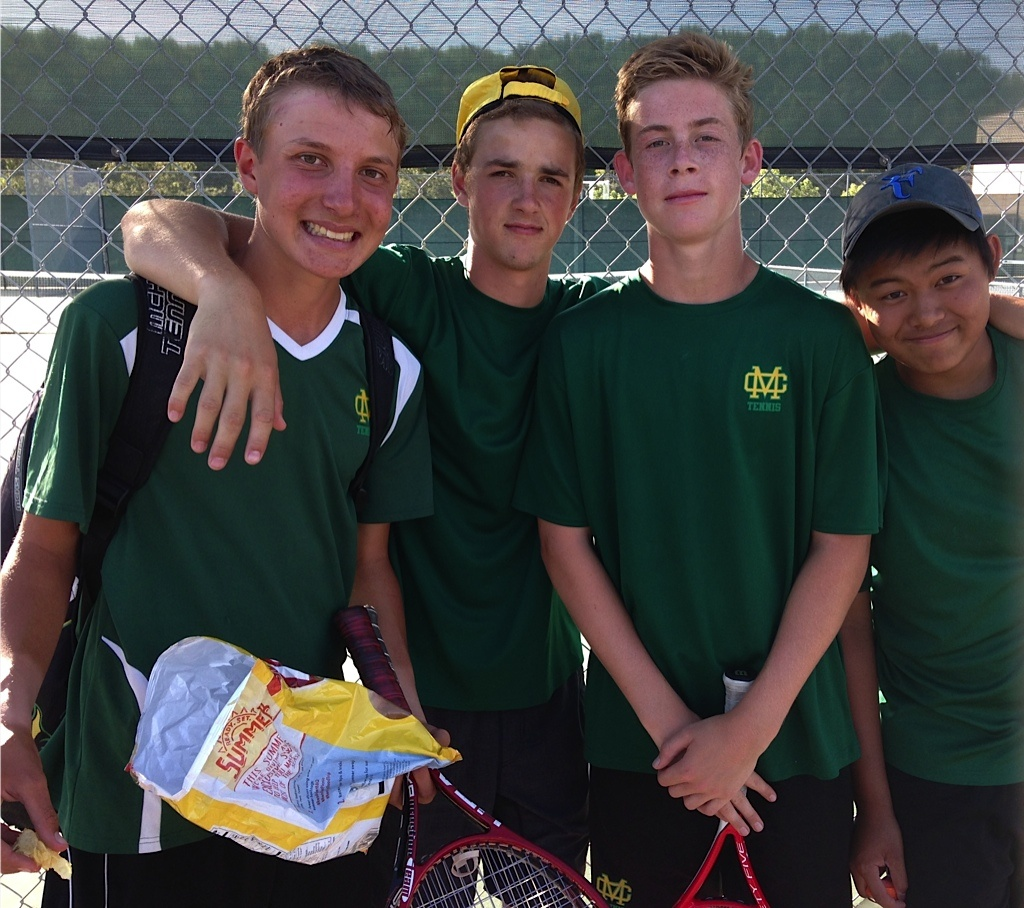 Zisette (second from the left) just completed his sophomore year at Mira Costa High School, where he played as a starter on the varsity tennis team.