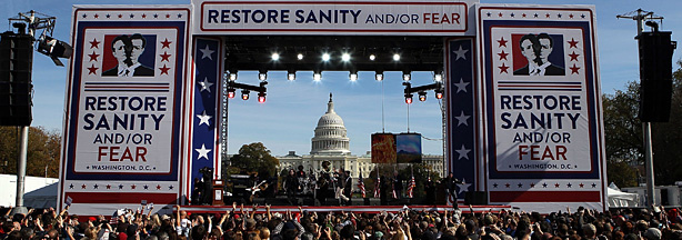 Steven Colbert and Jon Stewart perform at the Rally To Restore Sanity And/Or Fear on the National Mall on October 30, 2010 in Washington, DC. Stewart and Colbert held the rally, which tens of thousands of people attended.