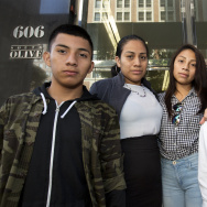 Left to right: Luis González (16), his mother Ana Hernández, sister Mariela Michell Beltrán-Hernandez (15)  and brother Alejandro González (16), stand on the steps of L.A.'s immigration court in downtown just ahead of a court date for their younger sister on Friday August 12th, 2016. LA's busy immigration courts are part of a nationwide system that is straining under half a million cases.