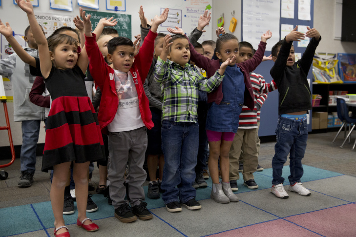 Ron Morris' dual-immersion kindergarten class at Stone Avenue Elementary School in Jurupa Valley.