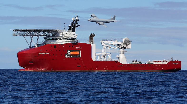 A Royal Australian Air Force AP-3C Orion flew past the Australian Defense vessel Ocean Shield on Wednesday as the search for Malaysia Airlines Flight 370 continued in the southern Indian Ocean.