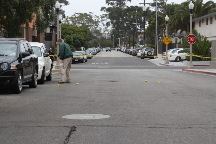 A black BMW from which an alleged shooter killed six near the University of California, Santa Barbara in Isla Vista before the shooter's own death, as seen on Saturday, May 24, 2014.