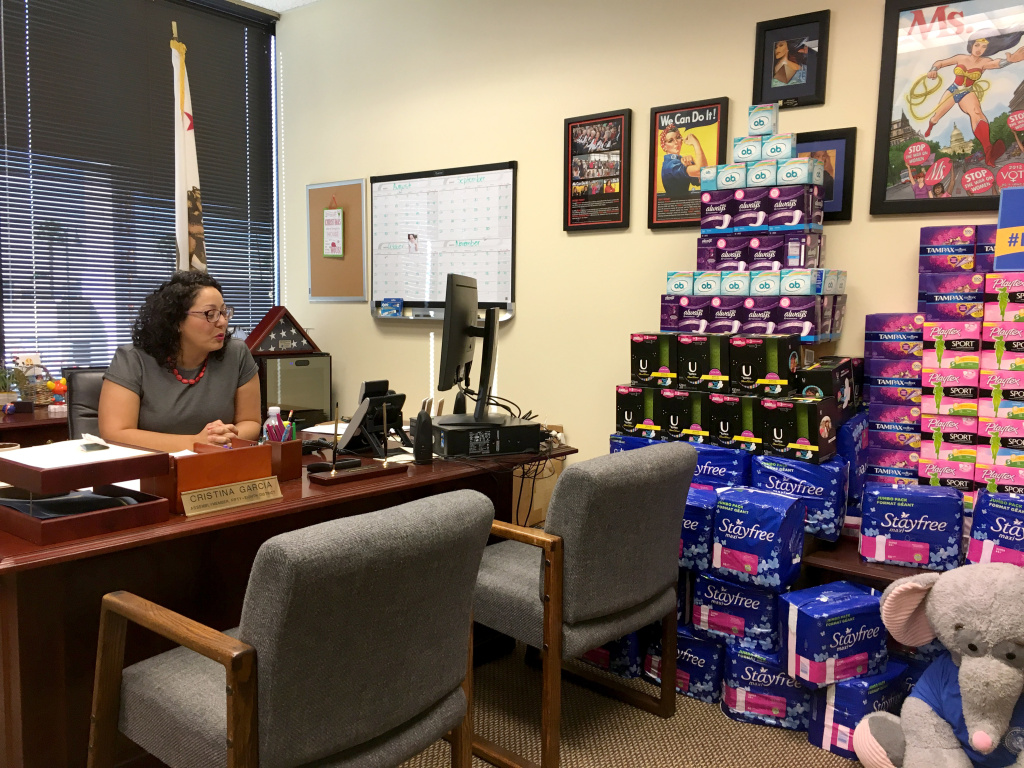 State Assemblywoman Cristina Garcia sits in her district office in Downey next to her