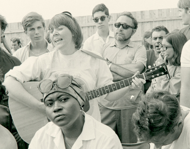 Barbara Dane and The Chambers Brothers in 1965 recording for their Smithsonian Folkways album.