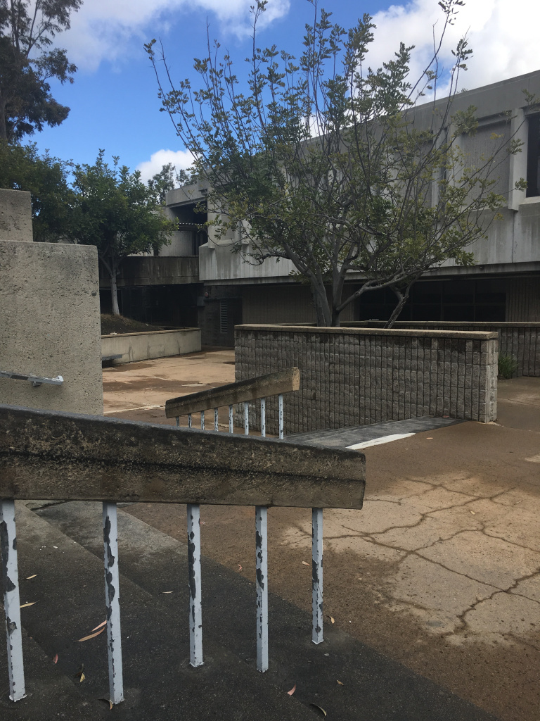 Skateboard marks mar the stairs at Old Laguna Niguel City Hall. The site has been shuttered since 2011.