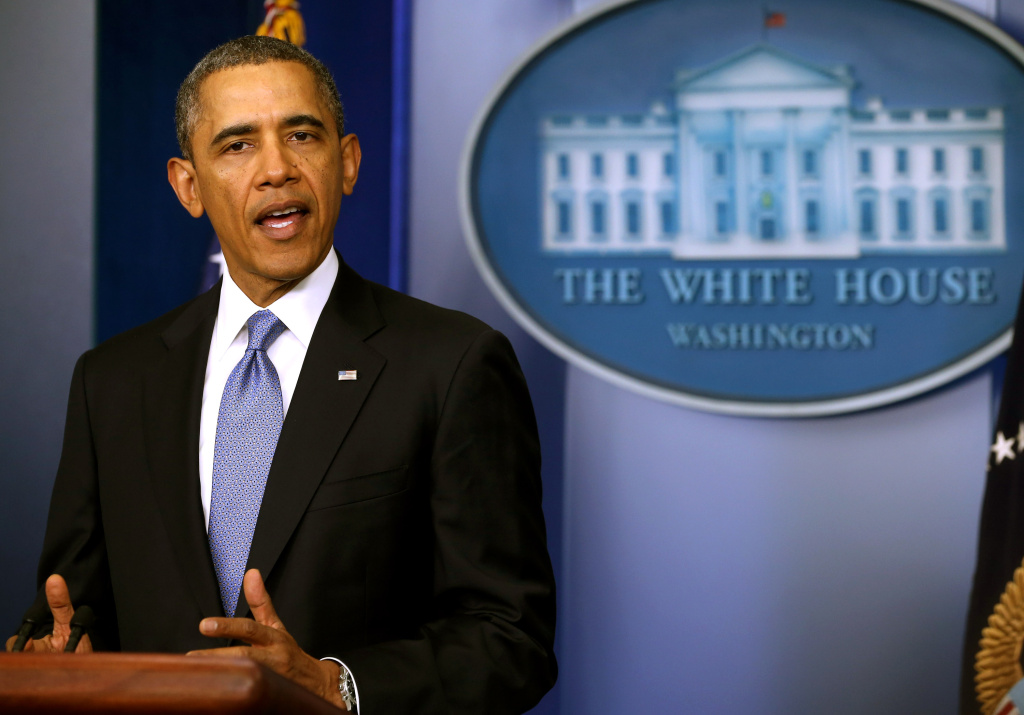 U.S. President Barack Obama gives a statement on the situation in the Ukraine in the Brady Press Briefing Room of the White House on March 17, 2014 in Washington, DC. The U.S. and the European Union have imposed sanctions on Russian and Ukraine officials in response to their actions that supported the referendum for Crimean separation. (Photo by Mark Wilson/Getty Images)