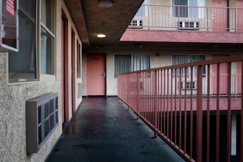 Many of the prostitutes who pick up clients in Walnut Park live in the Traveler's Inn motel in Huntington Park.