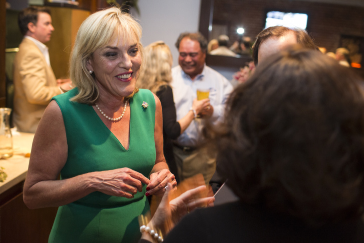 Janice Hahn at her campaign's election watch party at Port O' Call in San Pedro Tuesday evening. Hahn was holding on to an early lead in the 4th District supervisor race.