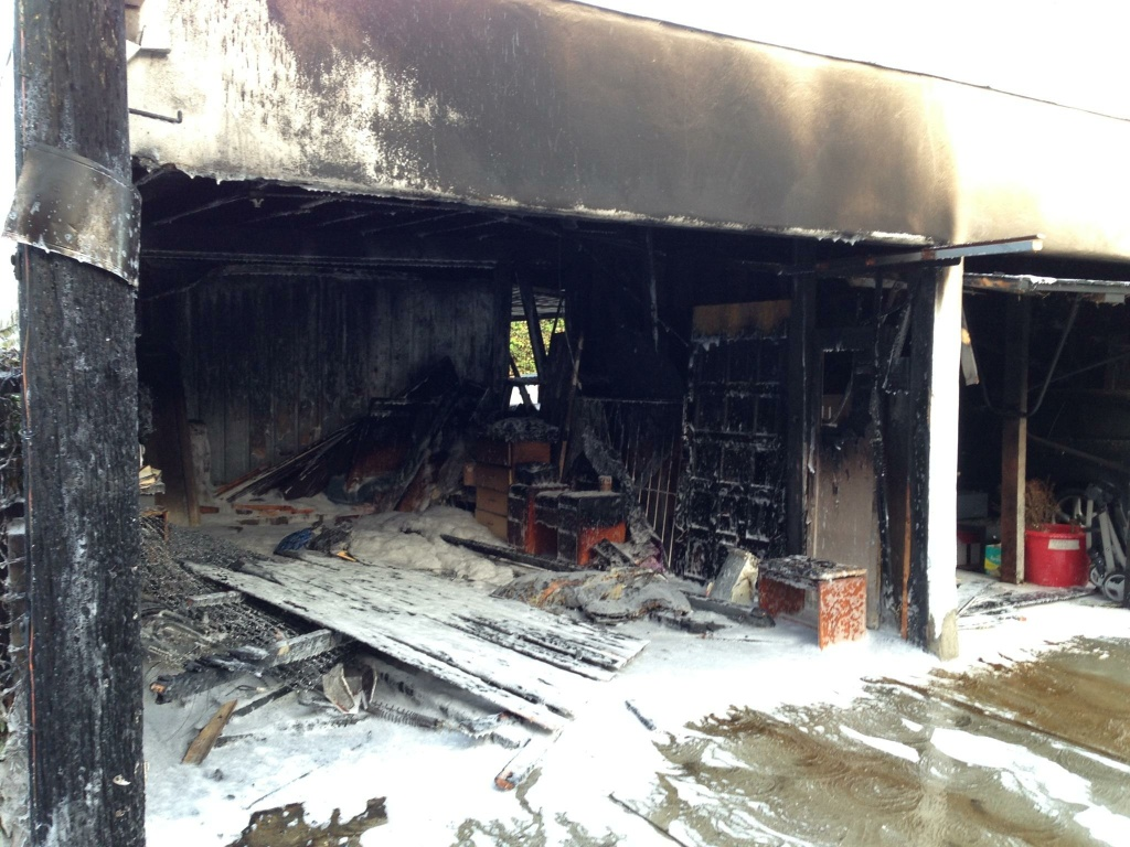 A carport on the 400 block of East Harvard Street in Glendale was damaged on April 19, 2014 after someone set a mattress on fire adjacent to it. This is latest in a series of arson fires that's plagued Glendale in recent months.