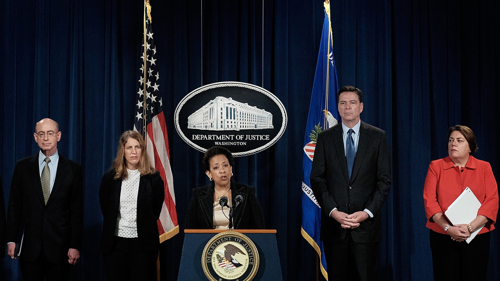 Attorney General Loretta Lynch speaks about a national crackdown on Medicare fraud, along with (L-R) Dr. Shantanu Agrawal, director of the Centers for Medicare & Medicaid Services Center for Program Integrity; HHS Inspector General Daniel R. Levinson; HHS Secretary Sylvia Mathews Burwell; FBI Director James B. Comey; and Assistant Attorney General for the Criminal Division Leslie R. Caldwell.