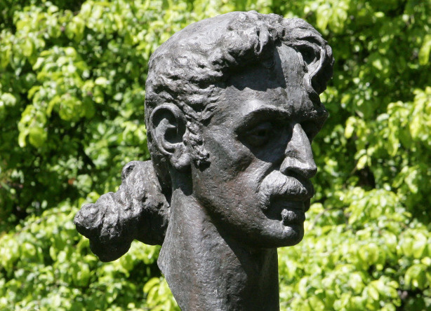A scuplture of late legendary guitarist Frank Zappa is seen in Vilnius on June 4, 2009.