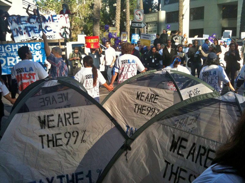 Hundreds of Occupy protesters gathered downtown LA for a march through the financial district