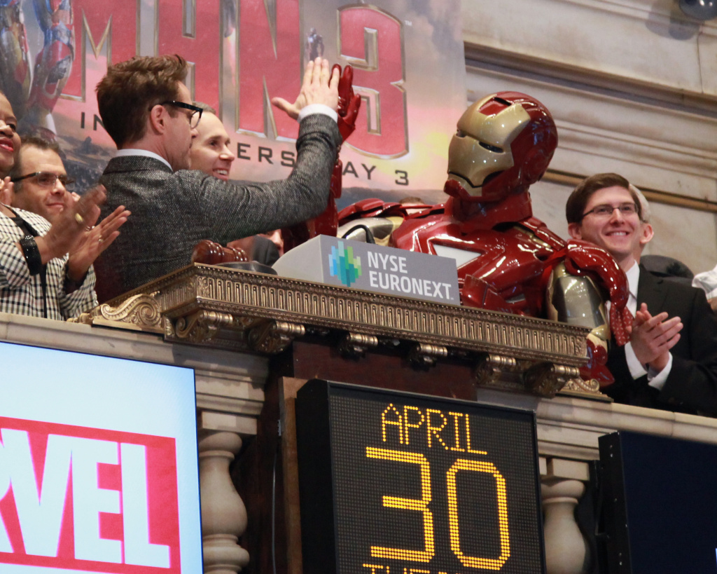 Actor Robert Downey Jr rings the opening bell at New York Stock Exchange on April 30, 2013 in New York City.
