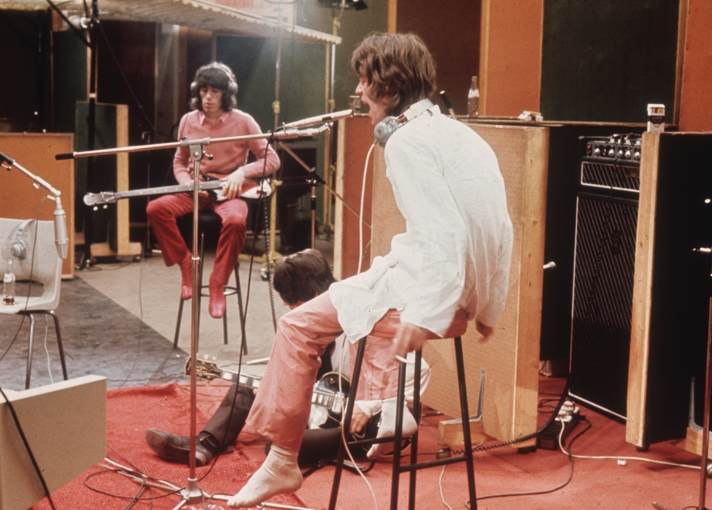 1968:  Bill Wyman, Keith Richards and Mick Jagger of the Rolling Stones recording their hit 'Sympathy For The Devil'.  (Photo by Hulton Archive/Getty Images)