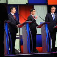 Republican presidential candidates (R-L) Ohio Governor John Kasich, Jeb Bush, Sen. Marco Rubio (R-FL) and Sen. Ted Cruz (R-TX) participate in the Fox News - Google GOP Debate.