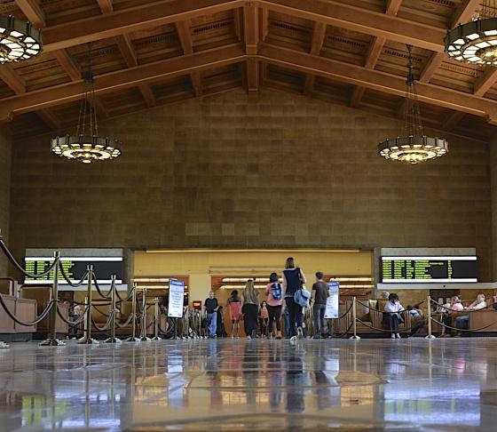 Inside LA's Union Station.
