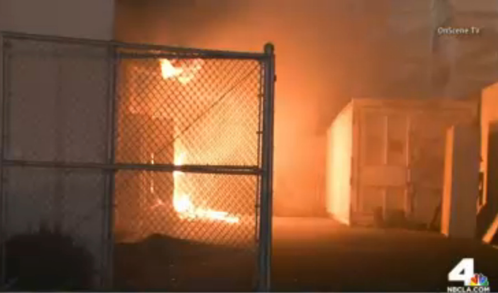 Firefighters extinguished a blaze that engulfed a classroom and torched multiple trash cans around campus on Wednesday.