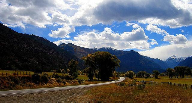 View toward the San Juan Mountains, just outside Ouray, Colorado.
