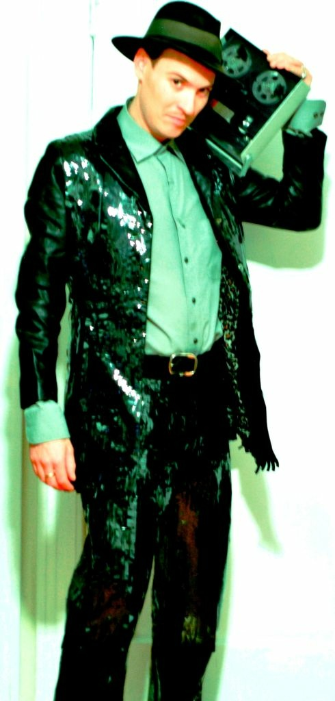 "Jean Paul Garnier, a.k.a. ""loopool,"" in his magnetic tape suit"