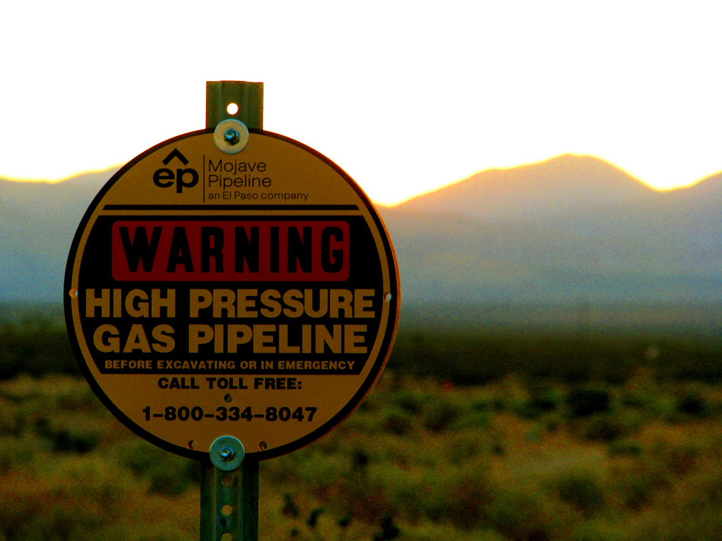 A natural gas pipeline in the Mojave Desert. California is cracking down on methane leaks from oil and gas equipment.