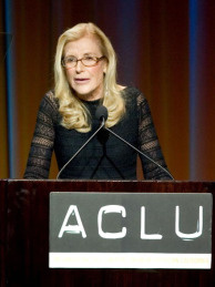 Ramona Ripston speaks at the American Civil Liberties Union Bill of Rights dinner on December 11, 2006