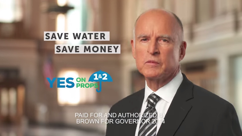 Gov. Jerry Brown in a TV ad for Propositions 1 and 2.